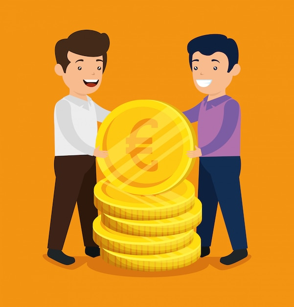 Мужчины с биткойнами и монетами евро для обмена Бесплатные векторы