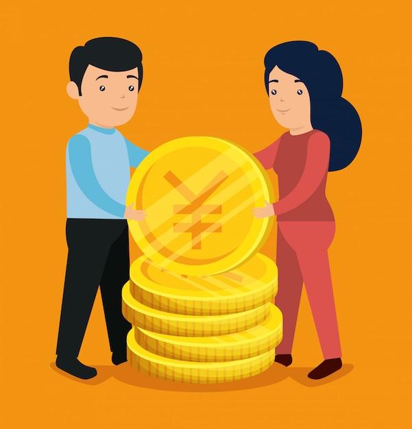 Мужчина и женщина с биткойнами и иенами обмениваются Бесплатные векторы