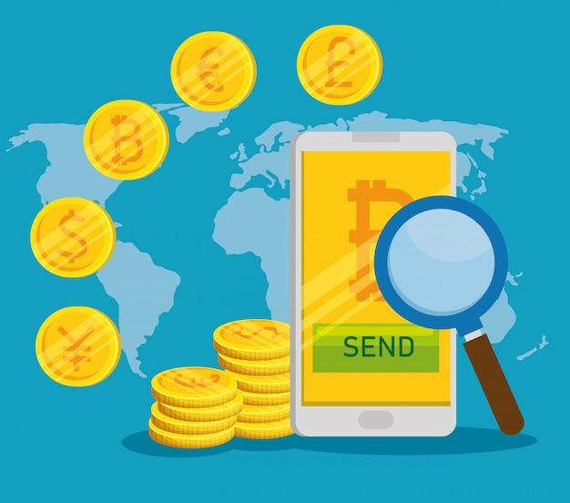 Смартфон с биткойн цифровой валютой и международными монетами Бесплатные векторы