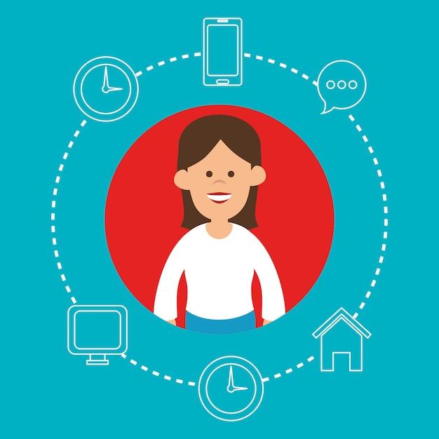 Женский персонаж с иконками социальных медиа вокруг Бесплатные векторы