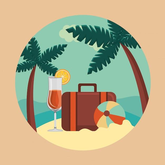楽園の夏と旅行、スーツケース、ボール、カクテル 無料ベクター