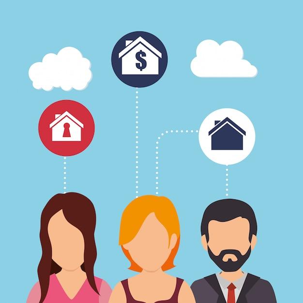 Операции с недвижимостью и прибыль Бесплатные векторы