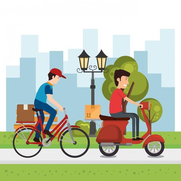 Доставка рабочих с транспортными средствами Premium векторы