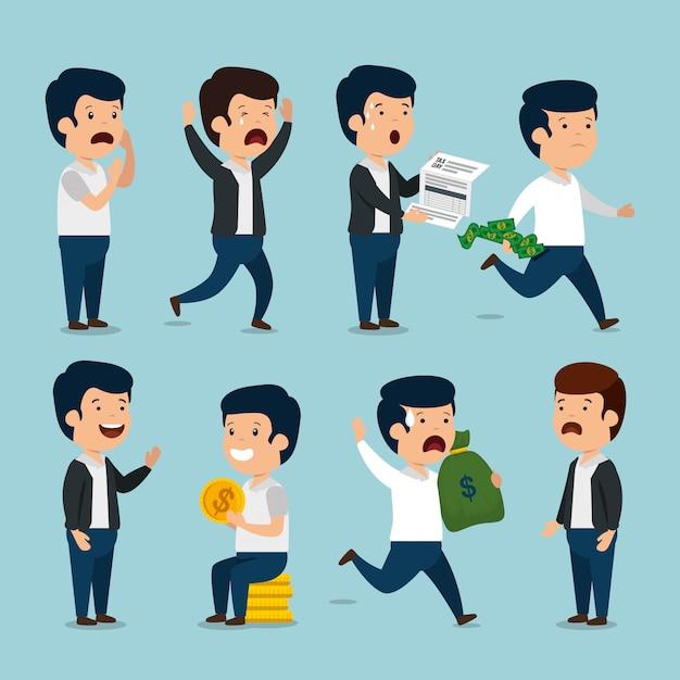 Установите бизнесменов с инвойсом валюты и монет Бесплатные векторы