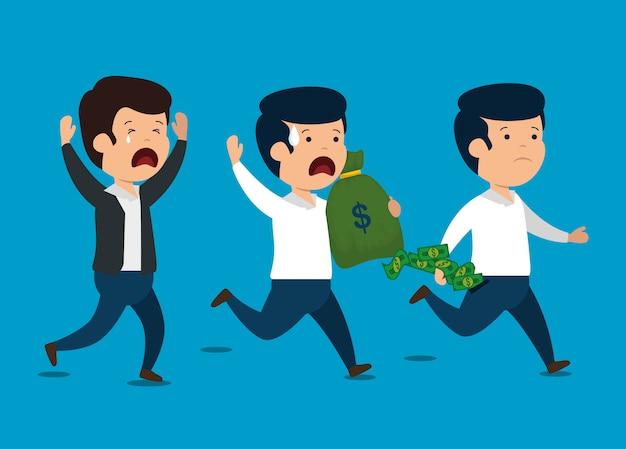 金融ビジネスレポートとお金を持つ男性 無料ベクター