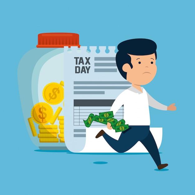 Человек с налогом на обслуживание финансов и монет Бесплатные векторы