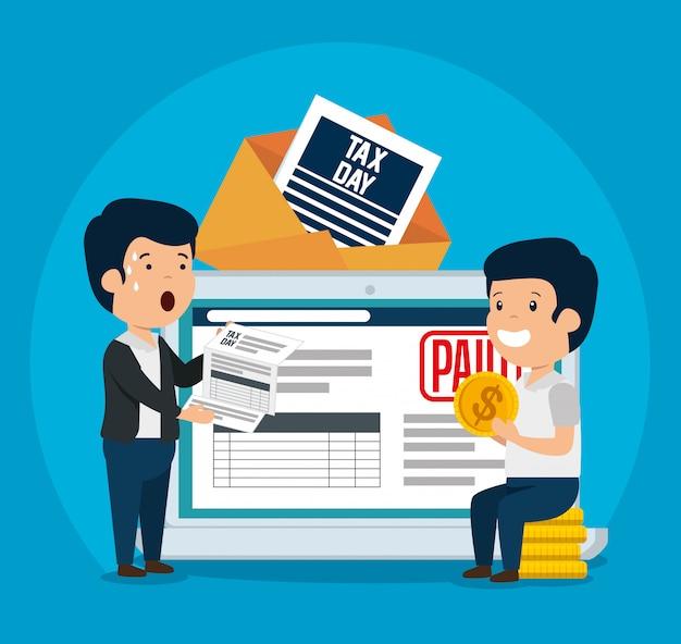 Мужчины с налогом на бизнес-услуги и планшетом Бесплатные векторы