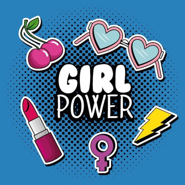 女の子の力のメッセージとファッションポップアート 無料ベクター