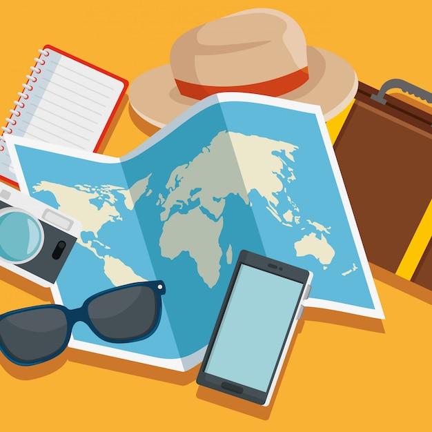 帽子と荷物の旅を含むグローバルマップ 無料ベクター