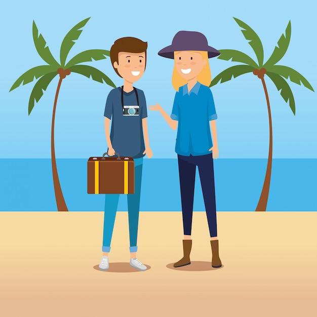 Женщина и мужчина турист с багажом и камерой Бесплатные векторы