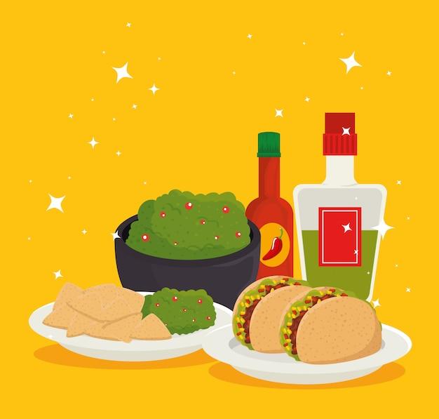 Мексиканская еда с текилой к традиционному празднику Бесплатные векторы