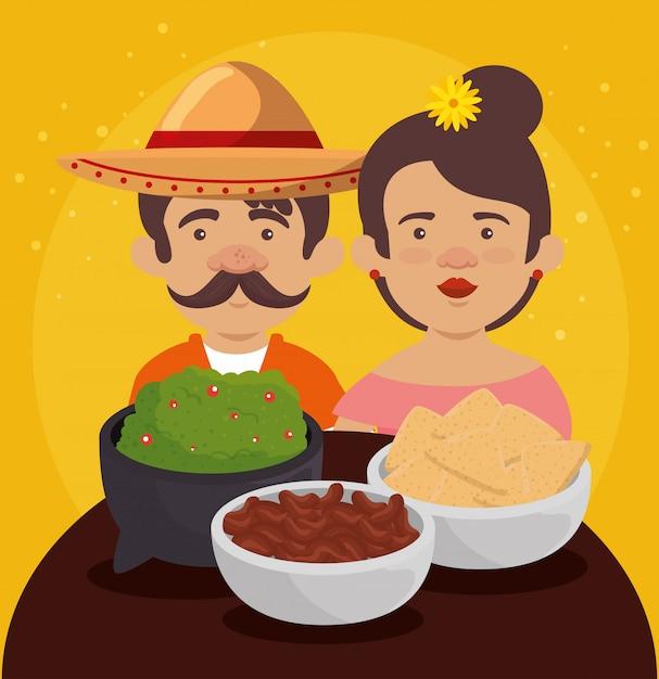 Мексиканский мужчина и женщина с традиционной едой Бесплатные векторы