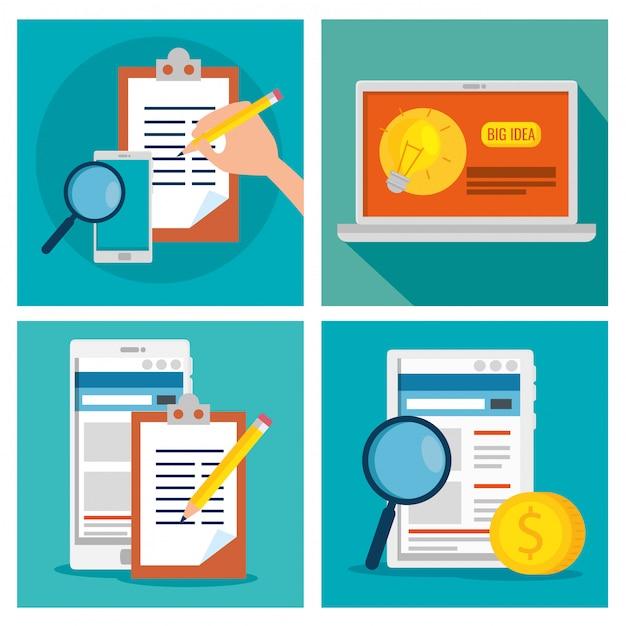 テクノロジーとドキュメントの情報を使用してビジネス戦略を設定する 無料ベクター