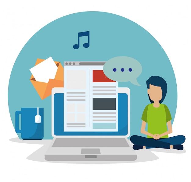 ラップトップおよびウェブサイトのソーシャルメディアを持つ少年 無料ベクター
