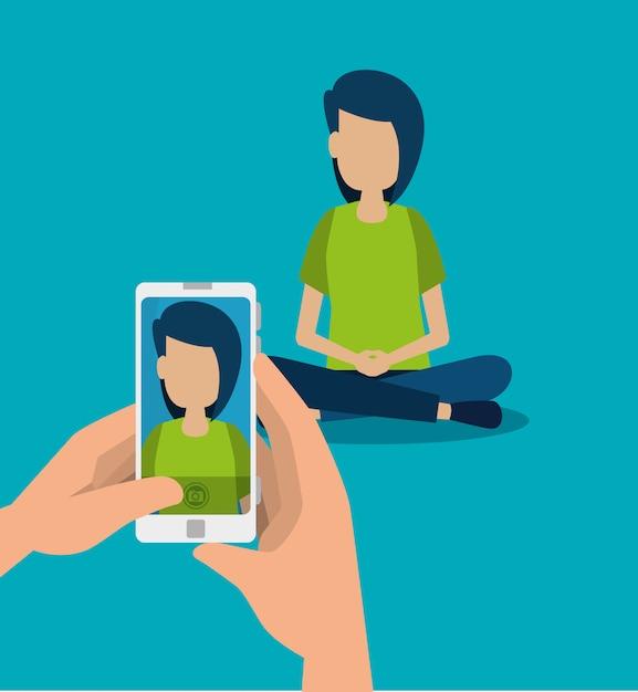 手の中の少年とスマートフォンの技術が写真を撮る 無料ベクター