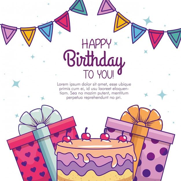 С днем рождения с тортом и подарком Бесплатные векторы