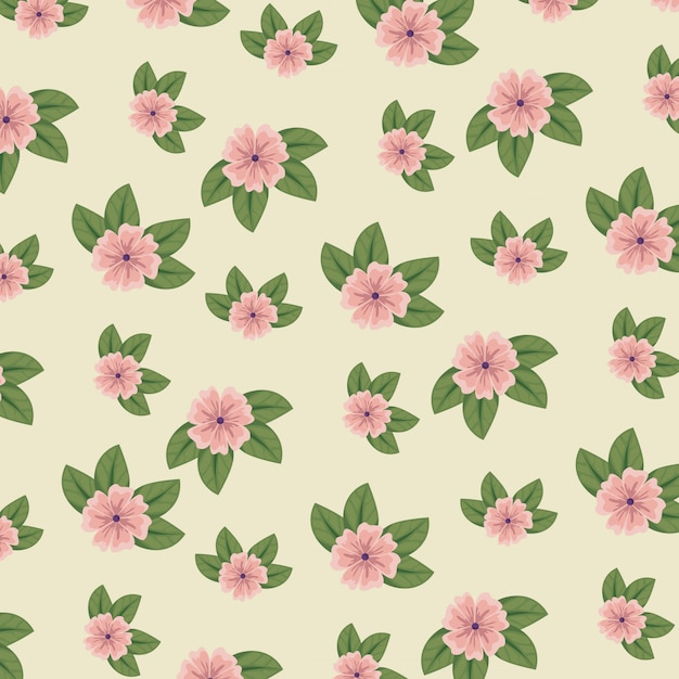 Милый цветочный стиль с листьями Бесплатные векторы