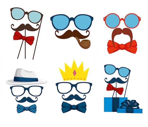 口ひげとネクタイの弓のアクセサリーとメガネを設定します Premiumベクター