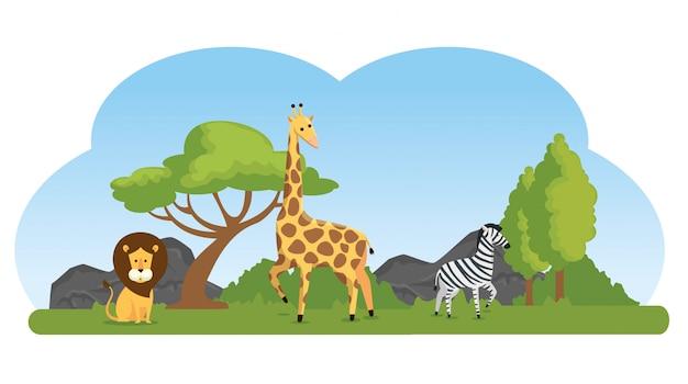 Симпатичные дикие животные в природном заповеднике Бесплатные векторы