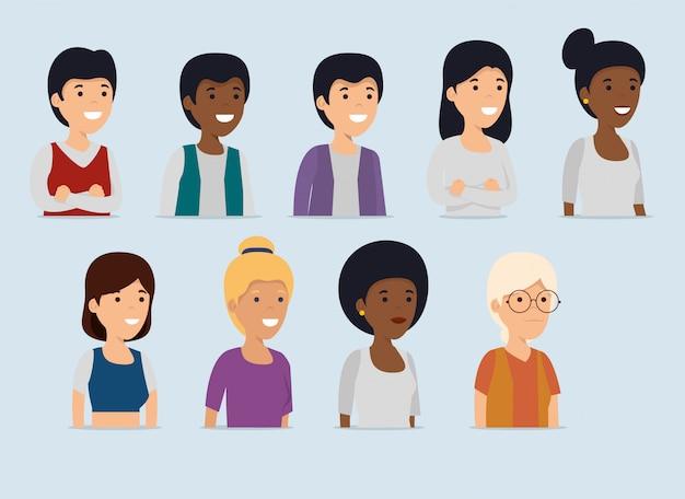 女性と男性のコラボレーションメッセージを設定する 無料ベクター
