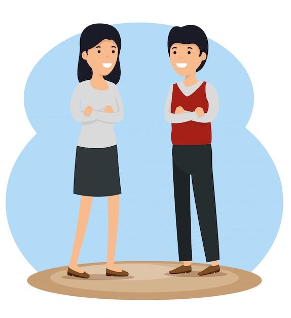 少女と少年のコミュニティは社会的メッセージ 無料ベクター