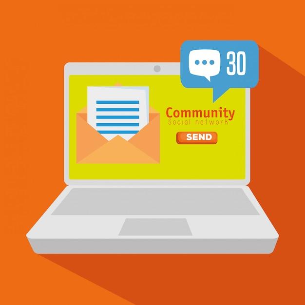 ソーシャルチャットプロファイルを備えたラップトップコミュニティ 無料ベクター