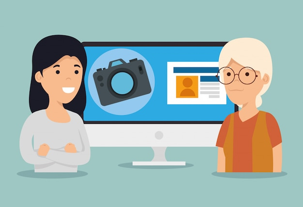 女性と少女のコンピューターとチャットプロファイル 無料ベクター