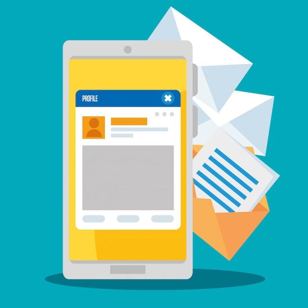 ソーシャルチャットプロファイルメッセージ付きのスマートフォン 無料ベクター