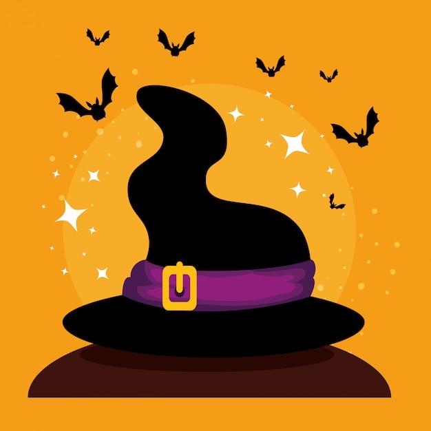 魔女の帽子とハロウィーンカード 無料ベクター