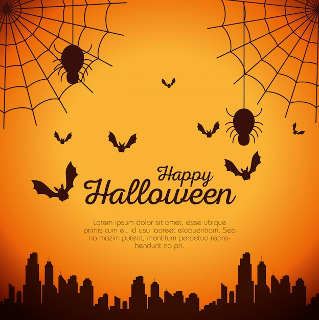 クモの巣とコウモリが飛んでハロウィーンカード 無料ベクター