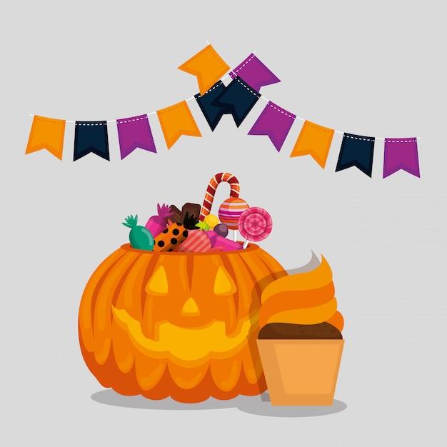Открытка на хэллоуин с тыквой и конфетами Бесплатные векторы