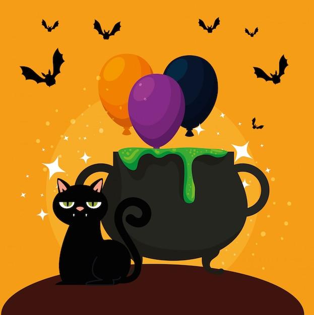 大釜と黒猫のハロウィーンカード 無料ベクター