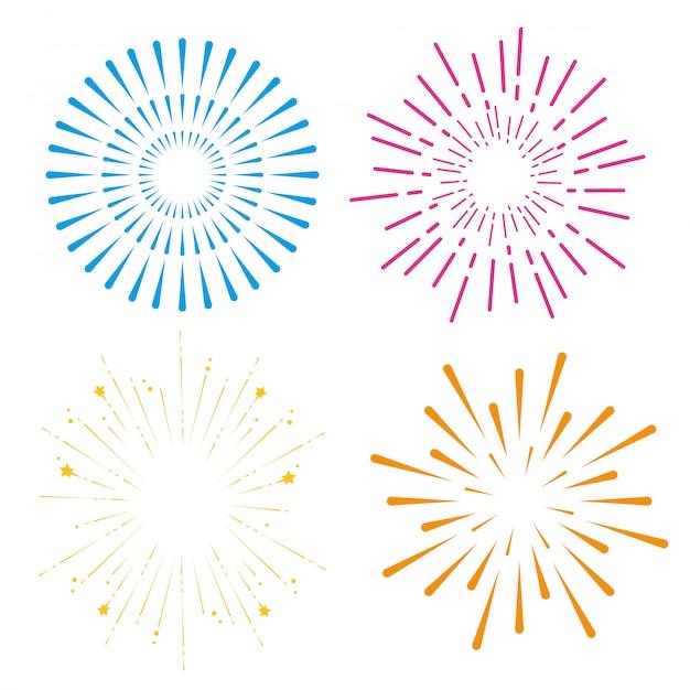 幸せなお祝いイベントに花火を設定 無料ベクター
