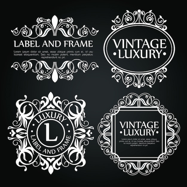 Набор роскошных украшений для этикетки, логотипа или эмблемы Бесплатные векторы