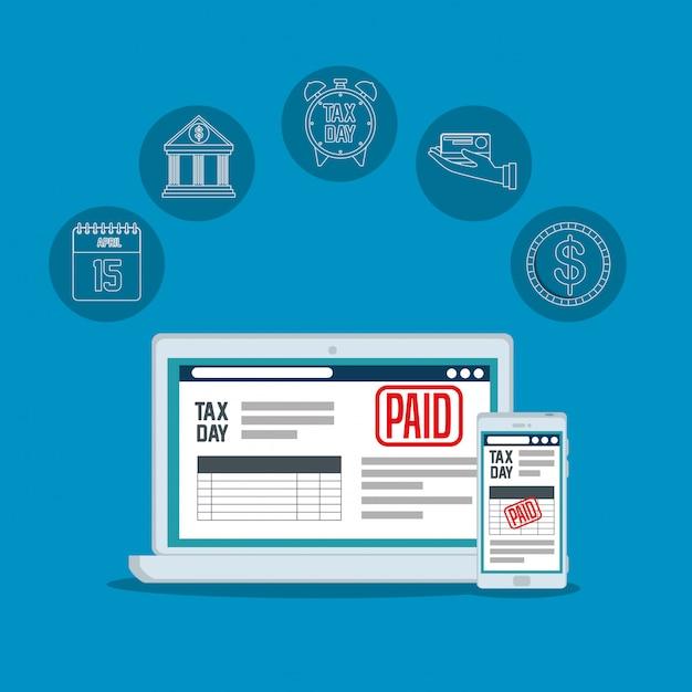 ラップトップとスマートフォンでのサービス税レポート 無料ベクター