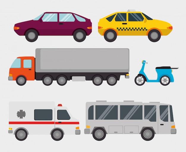 輸送物流セット車両 無料ベクター