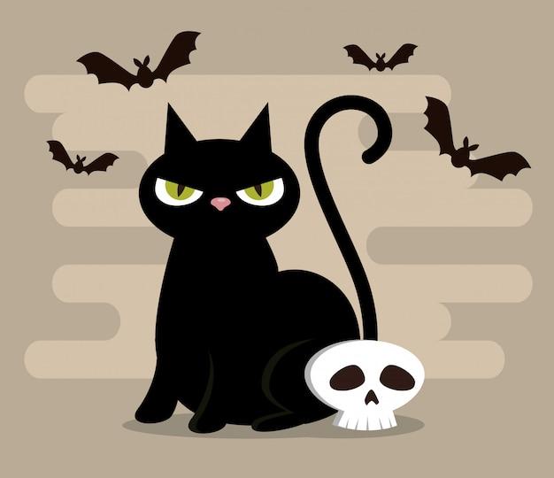 黒い猫と幸せなハロウィーン 無料ベクター