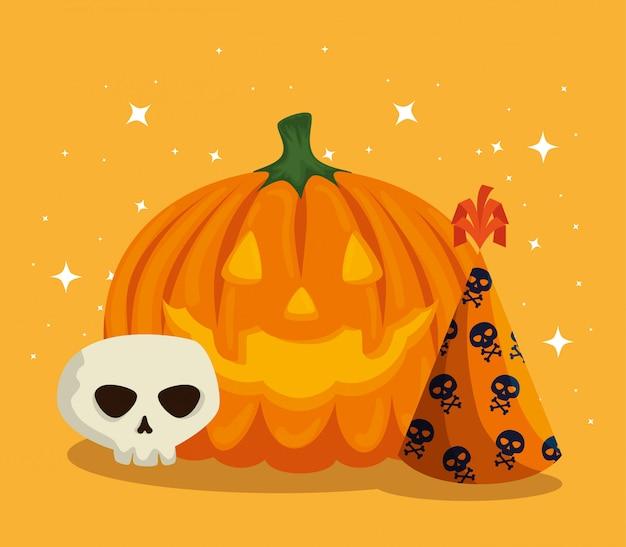 Открытка на хэллоуин с тыквой и черепом Бесплатные векторы