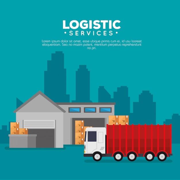 Логистические услуги со складским зданием Бесплатные векторы