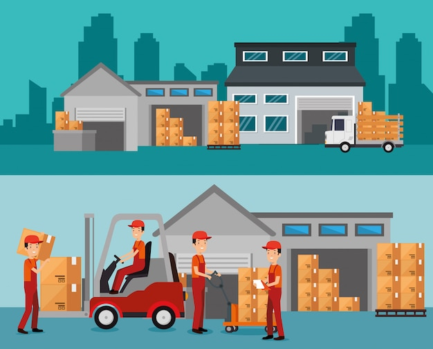 倉庫ビルでの物流サービス 無料ベクター
