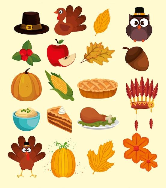Счастливый набор иконок благодарности Бесплатные векторы