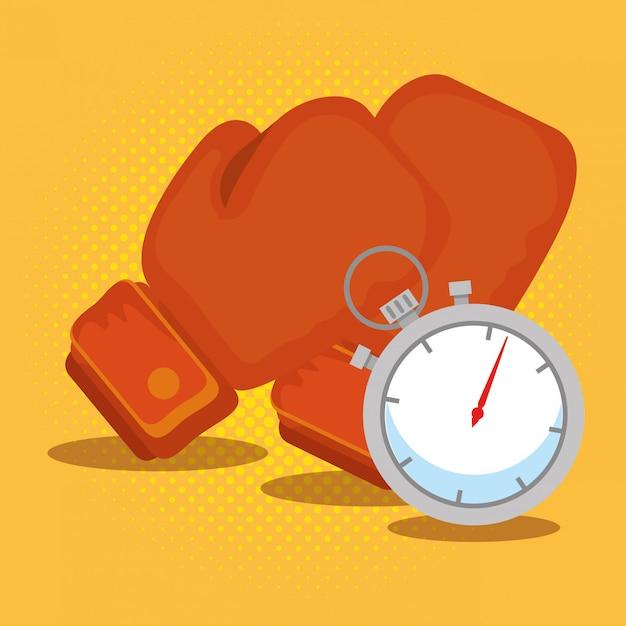 Боксерские перчатки и хронометр Бесплатные векторы