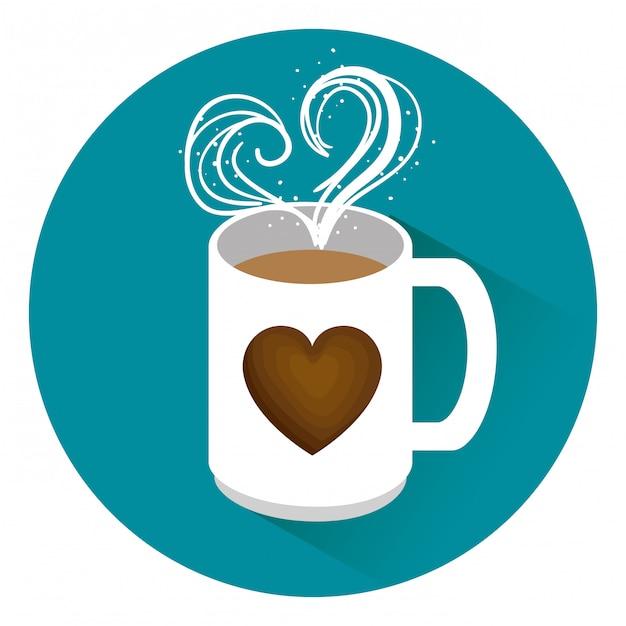 心でおいしいコーヒーカップ 無料ベクター