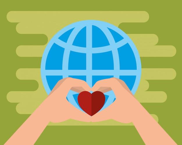 Руки с сердцем на благотворительные пожертвования Бесплатные векторы