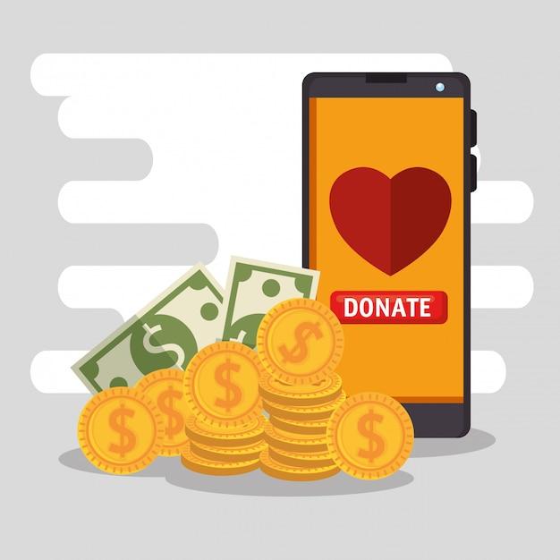 スマートフォンでのオンラインチャリティ寄付 無料ベクター