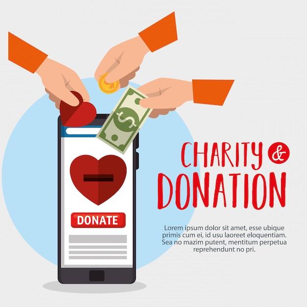 Онлайн благотворительное пожертвование со смартфоном Бесплатные векторы