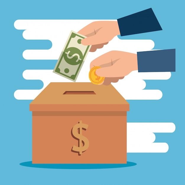 Коробка с деньгами на благотворительность Бесплатные векторы