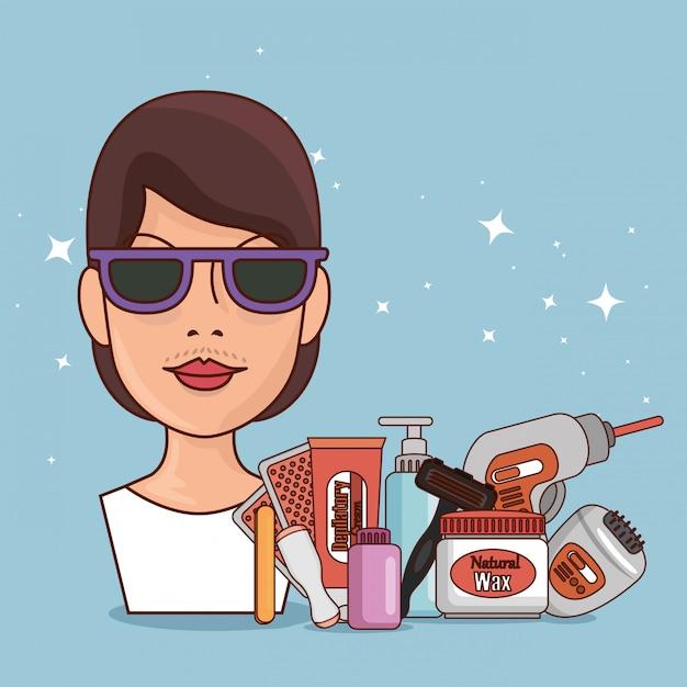 Женщина в очках с инструментами для удаления волос Бесплатные векторы