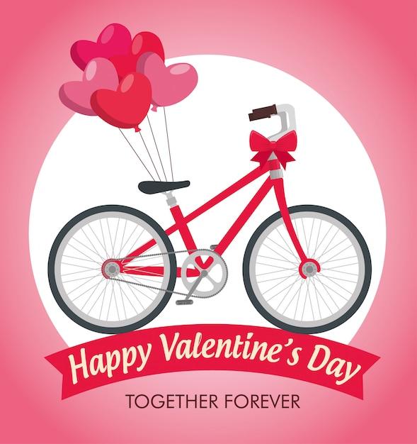 Празднование дня святого валентина с велосипедным транспортом Бесплатные векторы