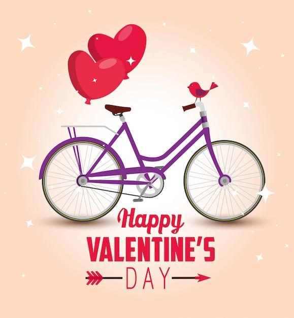 バレンタインデーへのハートバルーン付き自転車輸送 無料ベクター